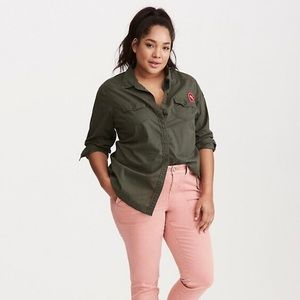 TORRID Patch Voile Collared Shirt 100% Cotton